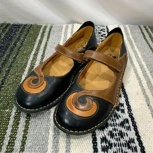 Spring Step Mary Jane Cosmic Black Leather Shoes